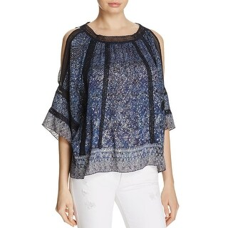 Elie Tahari Womens Mika Blouse Metallic Crochet Trim