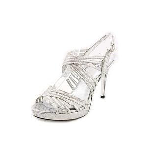 Adrianna Papell Aiden Women Open Toe Canvas Silver Sandals