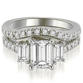 14k White Gold Lucida Three Stone Diamond Emerald Cut Bridal Set