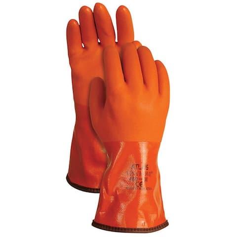 Atlas Glove 460L-09.RT Snow Blower PVC Insulated Gloves, Orange, Large