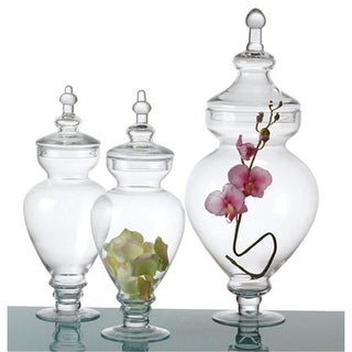 15 x 22 in. Digonal 6 x 9.5 Glass Jar with Lid 2 Small 1 Large
