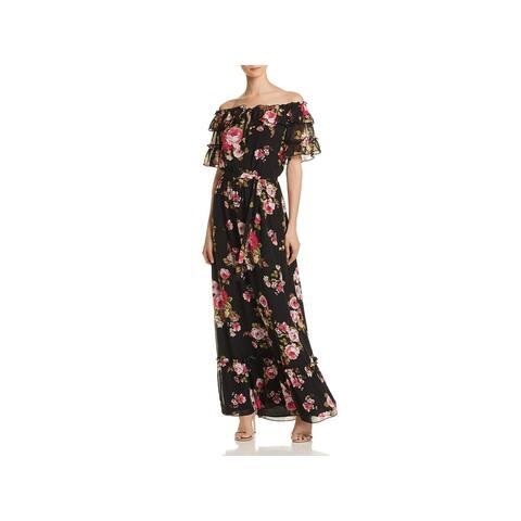 WAYF Womens Jasper Maxi Dress Off-The-Shoulder Floral - Black Roses