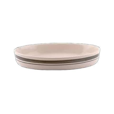 Stoneware Green/Natural Casserole Dish 10.5 x 13.75 Poland Renovator's Supply