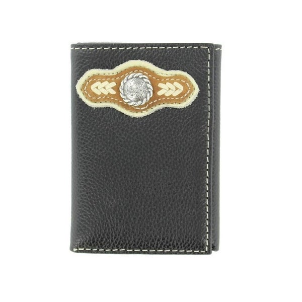 Nocona Western Wallet Mens Trifold Arrow Conchos Black - One size