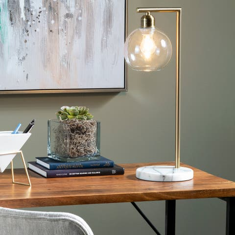 "Ashton 20""H Gold and Marble Task Lamp - 20 x 7 x 7"