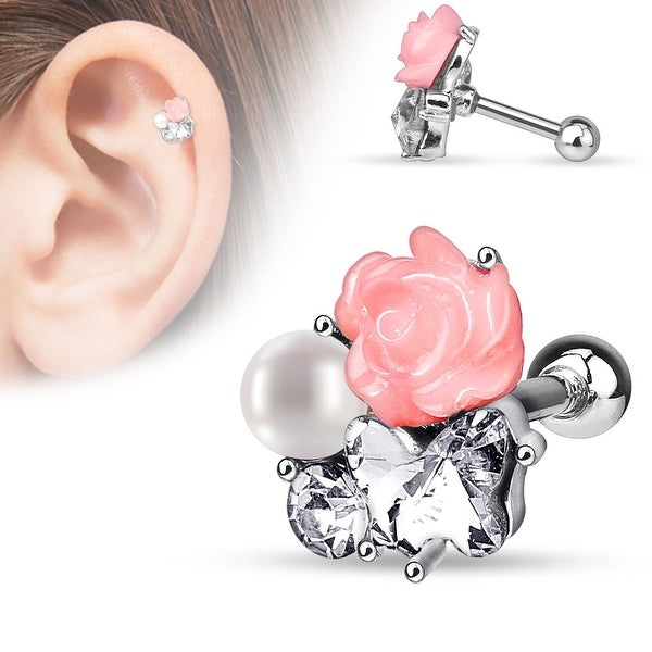 CZ,Pearl and Fimo Flower Clustered 316L Surgical Steel Cartilage/Tragus Bar (Sold Individually)