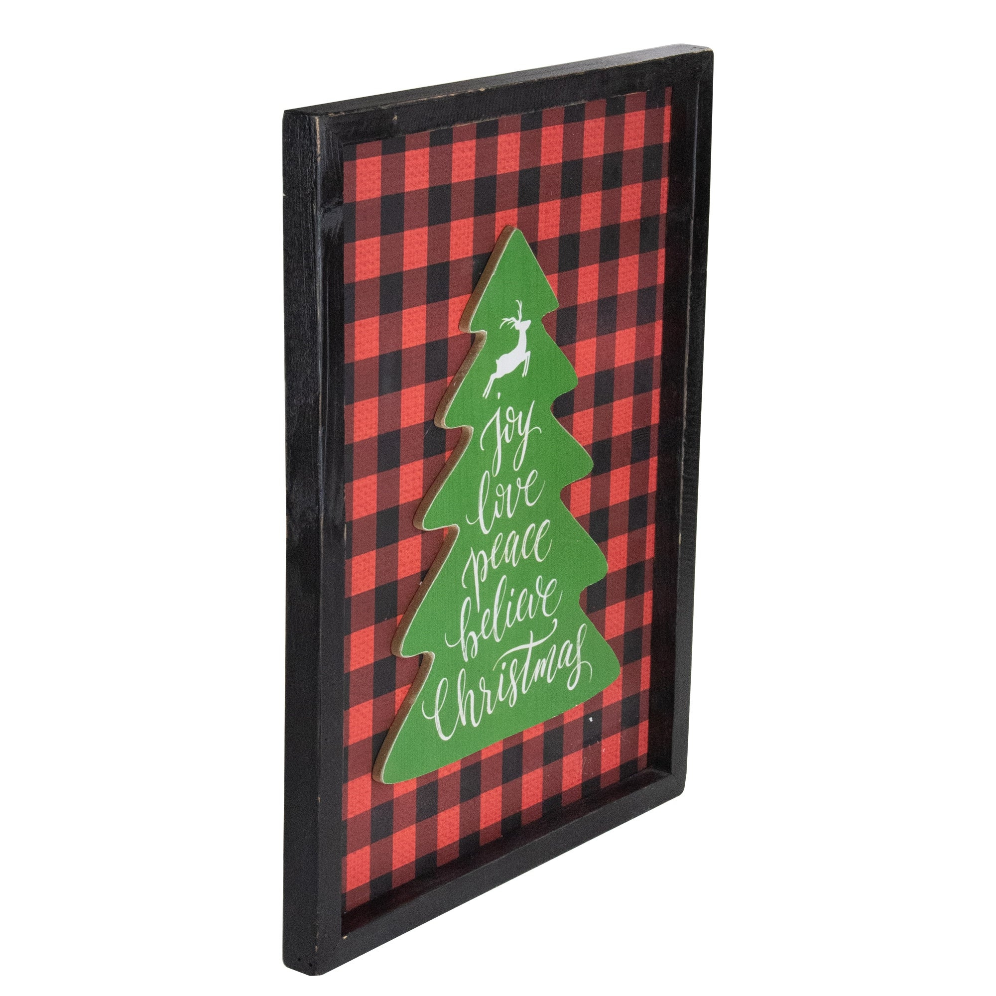 16 Red And Black Buffalo Plaid Christmas Tree Shadow Box Wall Plaque Overstock 32394124
