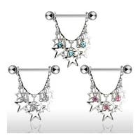 Surgical Steel Nipple Shield with Dangling Stars with CZs (Sold Individually)