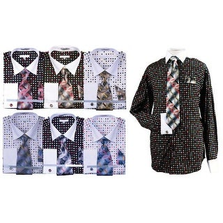 Men's Multi Color Polka Dot Cotton Shirt Tie Cufflink Set