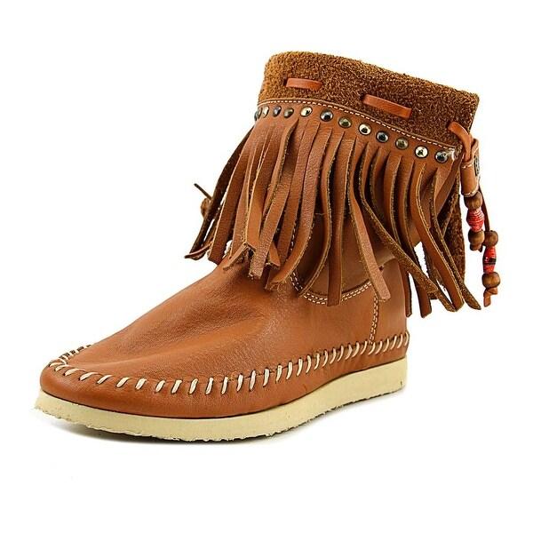 Buyamba Adjumanji Women Round Toe Leather Tan Ankle Boot