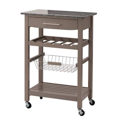 "Glitzhome 34""H Rolling Kitchen Island with Marble Top"