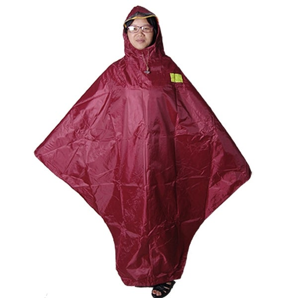 Unique Bargains Bicycle Riders Seam Sealed Red Hooded Raincoat Poncho