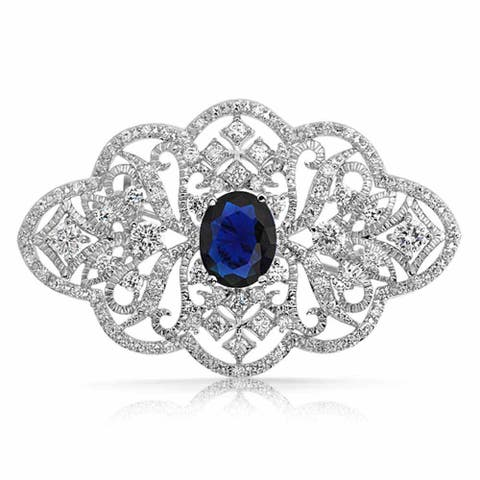 951aa07f13b Statement Deco Style Royal Blue Pave CZ Filigree Imitation Sapphire Brooch  Pin For Mother For Women