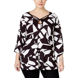 NY Collection Womens Plus Blouse Printed Angel Sleeves