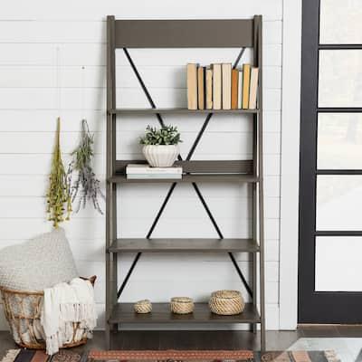 The Gray Barn 68-inch Solid Pine Wood Ladder Bookshelf