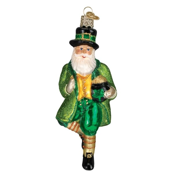 "5"" Old World Christmas Irish Santa Claus Glass Ornament #40201 - green"