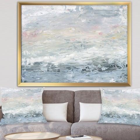 Designart 'Gray Abstract Watercolor II' Contemporary Framed Art Print