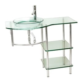 Glass Console Bathroom Sink Stainless Wall MountVanity