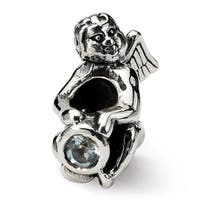 Sterling Silver Reflections March CZ Antiqued Bead (4mm Diameter Hole)