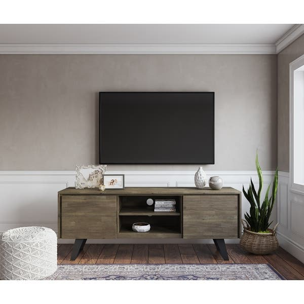 Shop Wyndenhall Mitchell Solid Acacia Wood 63 Inch Wide Modern Industrial Tv Media Stand For Tvs Up To 70 Inches On Sale Overstock 20627100 Distressed Charcoal Brown