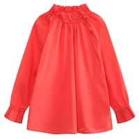 Richie House Baby Girls Magenta Pleated Collar Long Sleeve Pullover Shirt 24M