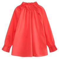 Richie House Girls Magenta Pleated Collar Long Sleeve Pullover Shirt 7/8