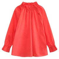 Richie House Little Girls Magenta Pleated Collar Long Sleeve Pullover Shirt 2-6