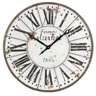 "Aspire Home Accents 6275  Monroy 24"" Diameter Metal Analog Clock - Brown"