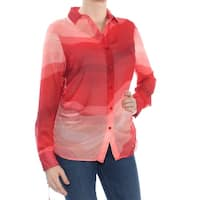 CATHERINE Womens Red Printed Sheer Long Sleeve Wear To Work Top  Size: S