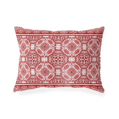 LASHA RED Indoor Outdoor Lumbar Pillow by Kavka Designs - 20X14