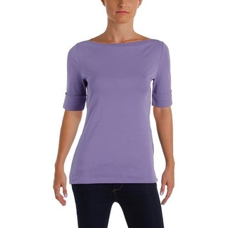 Ralph Lauren Womens Casual Top Boatneck Roll Sleeves
