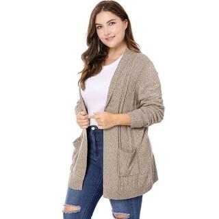 Allegra K Women's Plus Size Open Front Shawl Collar Sweater Cardigan - Brown