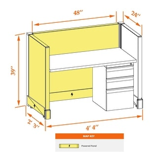 Small Cubicles 39H Powered (2x4 - White Desk White Paint - Assembled)