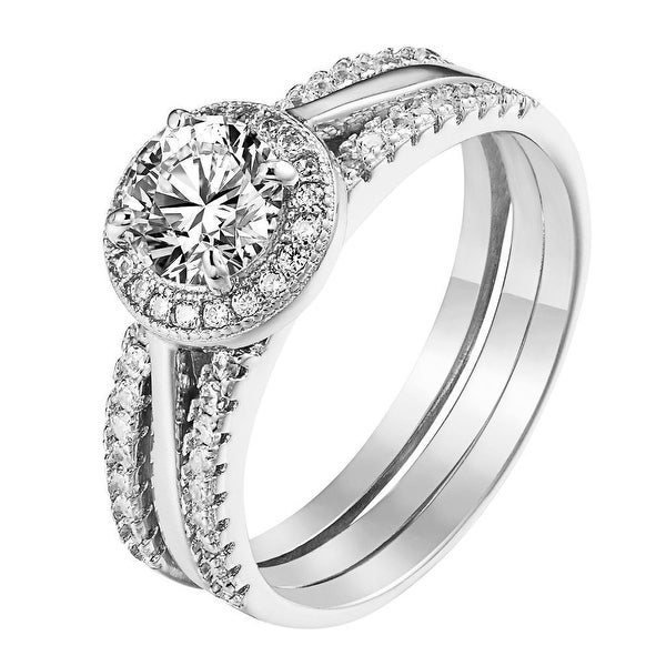 Round Cut Solitaire Ring Halo Sterling Silver Wedding Engagement Promise Womens