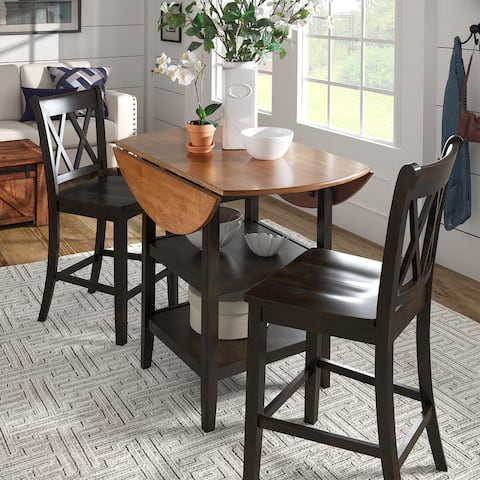 Eleanor Antique Black Drop Leaf Counter Height Table Dining Set by iNSPIRE Q Classic
