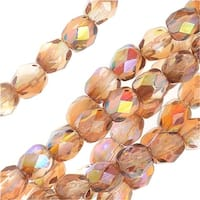 Czech Fire Polished Glass, Faceted Round Beads 4mm, 40 Pieces, Crystal Brown Rainbow