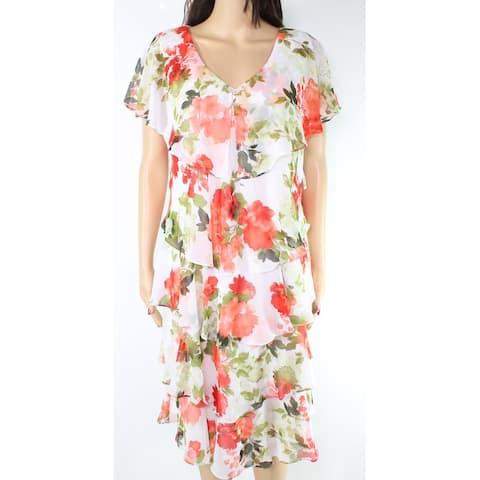 SLNY Women's Dress White 14 Sheath Tiered Floral Print Flutter Sleeve