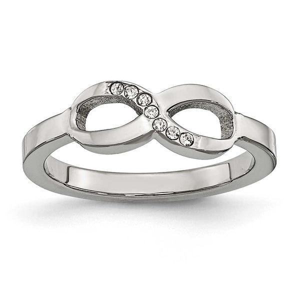 Chisel Stainless Steel Polished Infinity Symbol CZ Ring (6 mm)