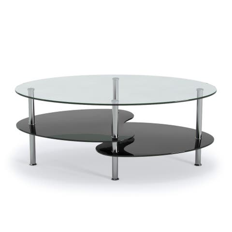"Ryan Rove Orion Home Office Decorative Contemporary 38"" Oval Two Tier Clear and Black Glass Coffee Table"