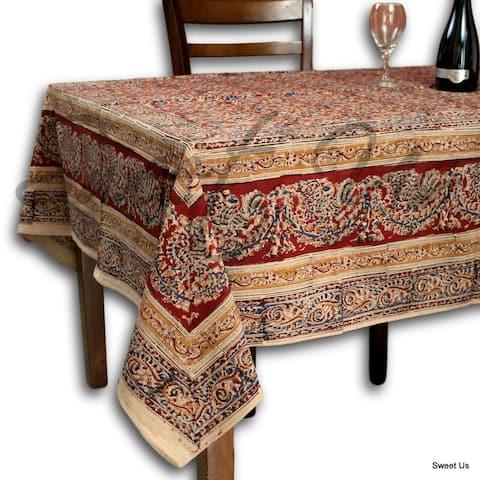 Vegetable Dye Hand Block Print Floral Cotton Round Tablecloth Rectangle, Square, Napkins