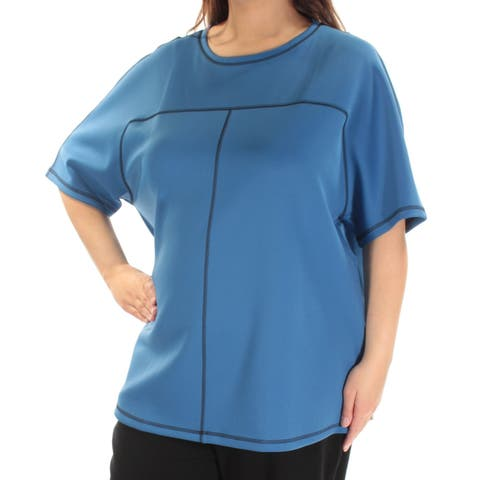 ANNE KLEIN Womens Blue Short Sleeve Scoop Neck Top Size: XL
