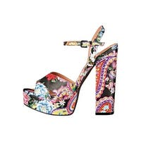 Chinese Laundry Womens Aquarius Paisley Open Toe Ankle Strap Platform Pumps