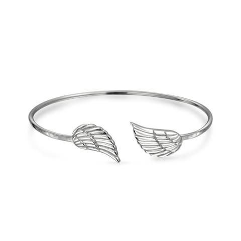 Religious Minimalist Thin Guardian Angel Wing Feather Bangle Cuff Bracelet For Women For Teen 925 Sterling Silver