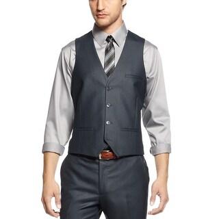 Bar III Slim Fit Shiny Blue Button Front Adjustable Vest 38 Short 38S