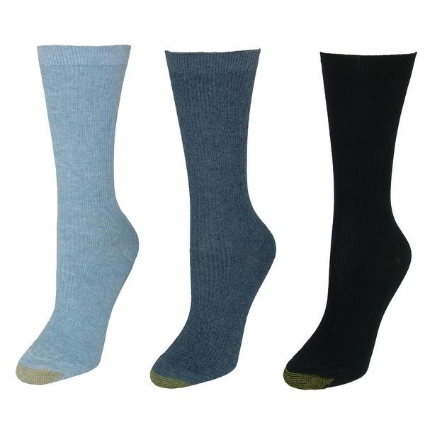 Gold Toe Women's Extended Size Non Binding Crew Socks (3 Pair Pack)