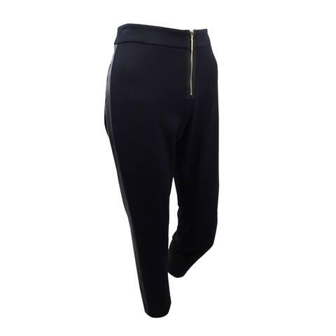 Zoe By Rachel Zoe Women's Faux-leather-trim Skinny Pants (8, Black) - Black - 8
