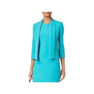 Kasper Womens Petites Open-Front Blazer Shawl Collar 3/4 Sleeves