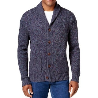 Tommy Bahama Blue Mens XL Cable Knit Shawl Collar Cardigan Sweater