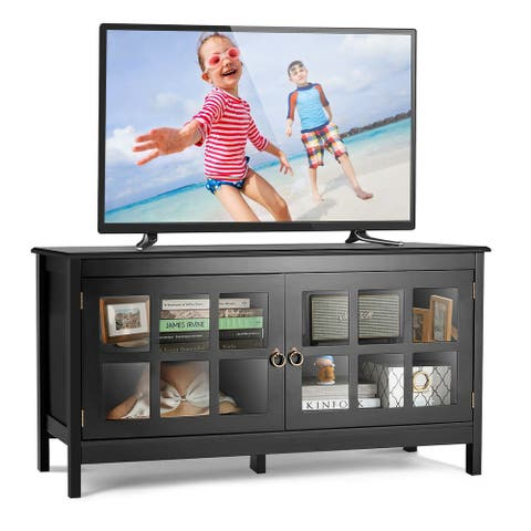Gymax 50'' TV Stand Modern Wood Storage Console Entertainment Center