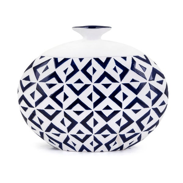 Short Neck Round Patterned Vase with Geometric Design, Large, White and Blue